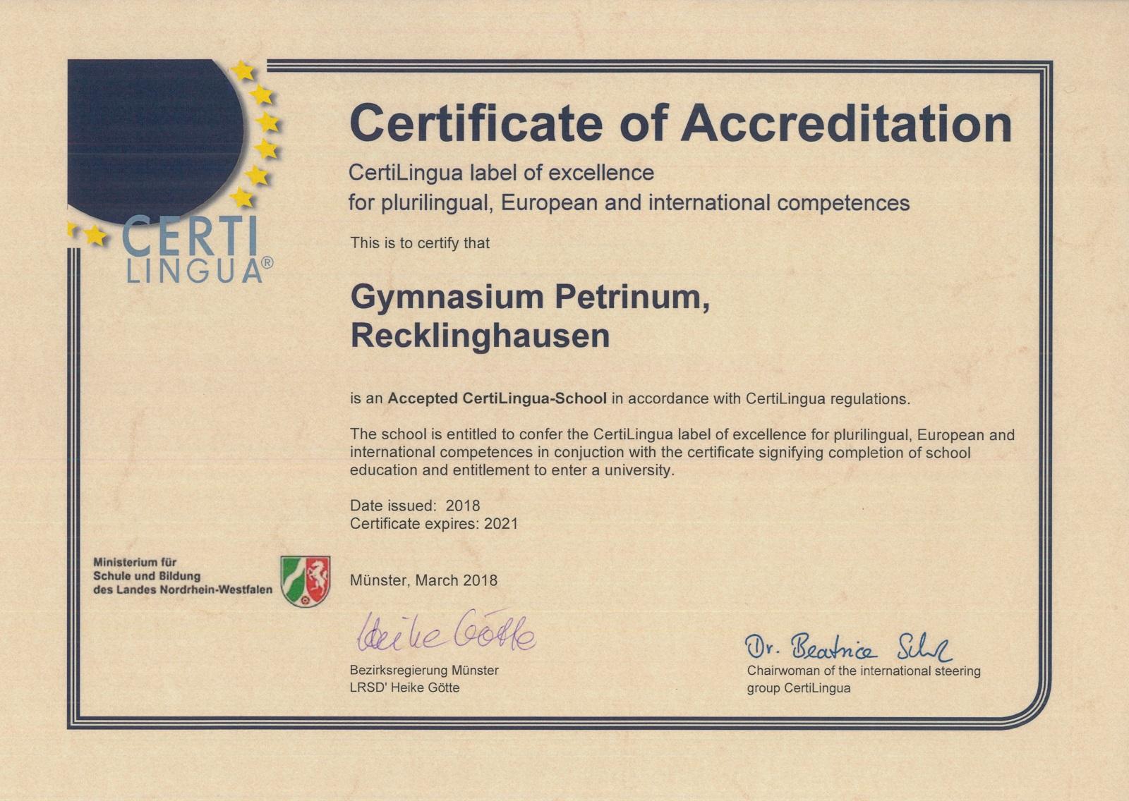 Zertifikate Gymnasium Petrinum Recklinghausen